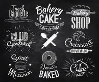 Bakery characters chalk. Bakery characters in retro style lettering donuts, croissants, macaron, stylized drawing with chalk on blackboard Royalty Free Stock Photos