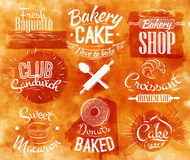 Bakery characters watercolor. Bakery characters in retro style lettering donuts, croissants, macaron, stylized in retro in watercolor background Stock Photos