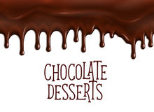 Bakery chocolate desserts vector poster for cafe. Chocolate desserts poster with dripping fondant or choco glaze drops. Vector design for cafe or cafeteria royalty free illustration