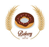 Bakery chocolate donut chips premium quality label. Vector illustration eps 10 Stock Photo