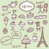 Bakery, Coffe and Paris symbols. Collection of different playful bakery, coffe and Paris symbols Stock Images