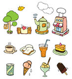 Bakery & coffee shop. Cute cartoon about bakery & coffee shop royalty free illustration