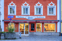 Bakery and coffee shop in Vilshofen, Germany. Open for business in the early morning Stock Image