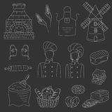 Bakery collection with bakers , doodle style vector illustration Royalty Free Stock Image