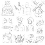 Bakery collection with bakers , doodle style vector illustration Stock Photo