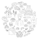 Bakery collection doodle style vector illustration Stock Photo