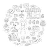 Bakery collection doodle style vector illustrations isolated on white Stock Photography