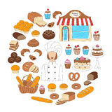 Bakery collection doodle style vector illustrations isolated on white Royalty Free Stock Photo
