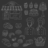 Bakery collection, hand drawn doodle style vector illustration Royalty Free Stock Images