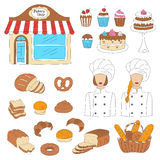 Bakery collection, hand drawn doodle style vector illustration Stock Images