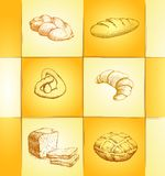 Bakery collection labels pack for bread, baguette Royalty Free Stock Photos