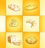 Bakery collection labels pack for bread, baguette. Loaf, cake, baked, croissant Stock Illustration