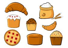 Bakery colored set, vector illustration royalty free illustration
