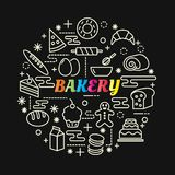 Bakery colorful gradient with line icons set stock illustration