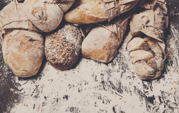 Bakery concept background. Bread sorts with copy space Royalty Free Stock Photos