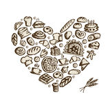 Bakery concept, love heart, sketch for your design Royalty Free Stock Images