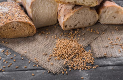 Bakery concept. Plenty of sliced bread background. Plenty of sliced bread background. Bakery and grocery concept. Fresh, healthy whole grain sliced sorts of rye Stock Photo