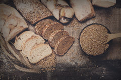 Bakery concept. Plenty of sliced bread background Stock Images