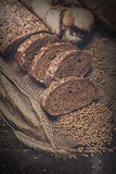 Bakery concept. Plenty of sliced rye bread background. Plenty of sliced bread background. Bakery and grocery concept. Fresh, healthy whole grain sliced rye loaf Stock Photo