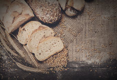 Bakery concept. Sliced rye bread background with copy space Royalty Free Stock Image