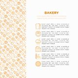Bakery concept with thin line icons: toast bread, pancakes, flour, croissant, donut, pretzel, cookies, gingerbread man, cupcake,. Burger, apple pie, pizza stock illustration