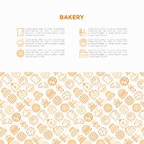 Bakery concept with thin line icons: toast bread, pancakes, flour, croissant, donut, pretzel, cookies, gingerbread man, cupcake,. Burger, apple pie, pizza vector illustration