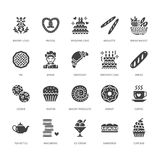 Bakery, confectionery flat glyph icons. Sweet shop products cake, croissant, muffin, pastry cupcake, pie. Food signs. Bread house. Solid silhouette pixel stock illustration