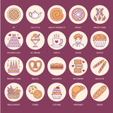 Bakery, confectionery flat line icons. Sweet shop products - cake, croissant, muffin, pastry, cupcake, pie Food thin Royalty Free Stock Images