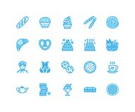 Bakery, confectionery flat line icons. Sweet shop products cake, croissant, muffin, pastry cupcake, pie Food thin linear Royalty Free Stock Photography
