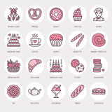 Bakery, confectionery line icons. Sweet shop product - cake, croissant, muffin, pastry, cupcake, pie Food thin linear Stock Photos
