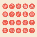 Bakery, confectionery line icons. Sweet shop product - cake, croissant, muffin, pastry, cupcake, pie Food thin linear Stock Photo