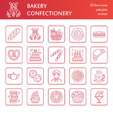 Bakery, confectionery line icons. Sweet shop products - cake, croissant, muffin, pastry, cupcake, pie Food thin linear Royalty Free Stock Photo