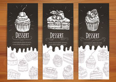 Bakery, confectionery, pastries, desserts poster. Bakery desserts and sweets posters. Cupcake with berries, cake with chery, chocolate muffin vector icons stock illustration
