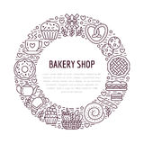 Bakery, confectionery poster template. Vector food line icons, illustration of sweets, pretzel croissant, muffin, pastry. Cupcake, pie, mill. Bread house vector illustration