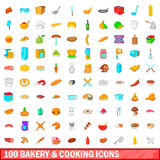 100 bakery and cooking icons set, cartoon style. 100 bakery and cooking icons set in cartoon style for any design vector illustration Stock Photography