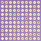 100 bakery and cooking icons set in cartoon style. On purple background vector illustration Royalty Free Stock Photos