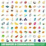 100 bakery cooking icons set, isometric 3d style. 100 bakery cooking icons set in isometric 3d style for any design illustration royalty free illustration