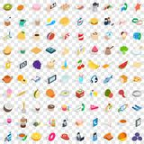 100 bakery cooking icons set, isometric 3d style. 100 bakery cooking icons set in isometric 3d style for any design vector illustration Stock Illustration