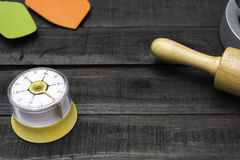 Bakery And Cooking Tools with kitchen timekeeping on wood table Royalty Free Stock Photography