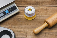 Bakery And Cooking Tools with kitchen timer, scales, kitchen mol Stock Photography