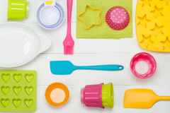 Bakery And Cooking Tools. Silicone Moulds, Cupcake Cases. Measur Stock Photos