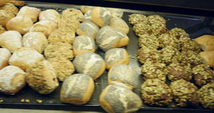 Bakery in Copenhagen, Denmark. Selling diverse type of organic bread stock video footage