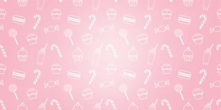 Bakery cute cupcake candy milkshake macaroon sweet pink icon cafe pattern background. Bakery cute cupcake candy milkshake macaroon sweet pink icon logo cafe shop vector illustration