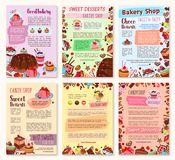 Bakery dessert, sweets and ice cream posters. Set. Cake, cupcake, chocolate, cream dessert, fruit pie, ice cream sundae, berry muffin and gingerbread cookie Royalty Free Stock Photography
