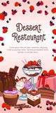 Bakery dessert vector banner for restaurant. Dessert restaurant banner or menu template. Vector design of homemade pastry and sweets, ice cream and biscuits Stock Photo