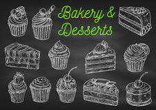 Bakery and desserts chalk sketch icons Stock Images