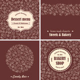 Bakery desserts emblems and backgrounds set Stock Photo
