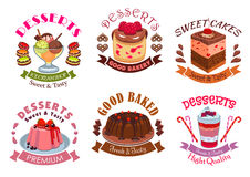 Bakery desserts, pastry cakes emblem labels set. Vector  icons of dessert and sweet souffle cupcakes, berry pudding, fruit ice cream scoops bowl, chocolate pie Royalty Free Stock Photos