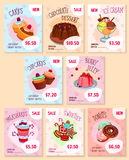 Bakery desserts price tags vector templates set Royalty Free Stock Images