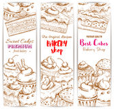 Bakery desserts sketch banners set Stock Images